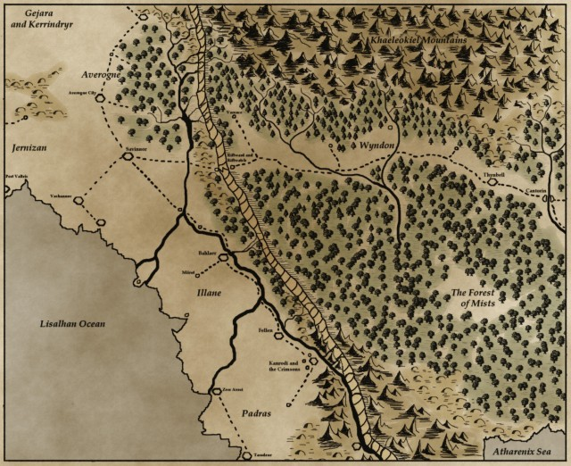 The map of pertinent territory for book 1.