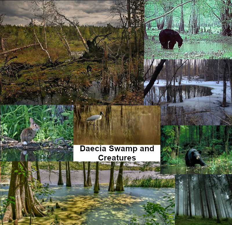 A composite image of various swamp scenes and creatures.