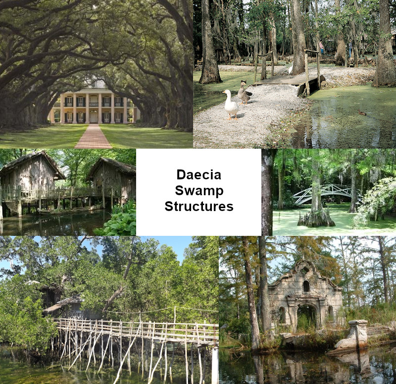 A composite image of homes, bridges and ruins in swamp terrain.
