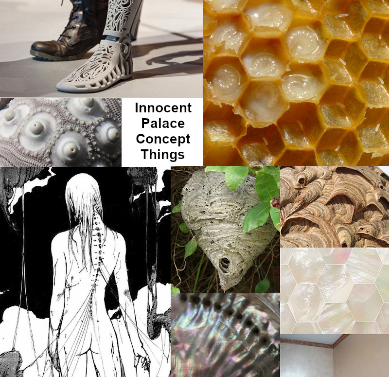 A composite image of honeycomb, wasp's nest, nacre, and body horror images labeled as Innocent Palace Concept Things.